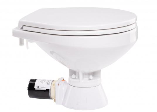 Die QUIET FLUSH Jabsco Toilette zeichnet sich durch ihren geräuscharmen Betrieb aus und bietet die Möglichkeit, den Spülwasserstand im Toilettenbecken zu regulieren.Neben dem großen Komfortbecken verfügt die Toilette über einen Soft Close-Deckel. Erhältlich in unterschiedlichen Ausführungen. (Bild 4 von 6)