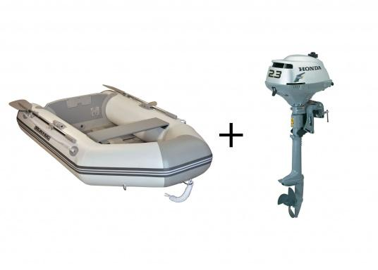 Das Set besteht aus dem SEATEC Schlauchboot NEMO 230 und dem Außenbordmotor Honda BF 2,3.