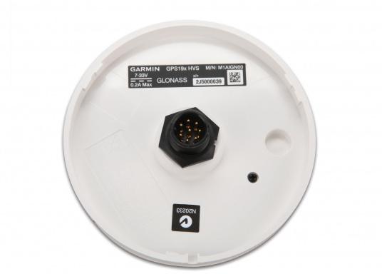 Der 32-Kanal-Empfänger GPS 19x HVS von Garmin liefert besonders präzise, aktuelle Positions-, Geschwindigkeits- und Zeitdaten über den NMEA0183-Ausgang an Ihren Plotter. 10-Hz-Aktualisierungsrate. Vollständig abgedichtetes und robustes Kunststoffgehäuse. (Bild 3 von 6)