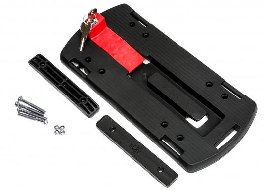 Die Gepäckträger-Adapterplatte GTA bildet eine ebene Ladefläche und dient gleichzeitig als Adapter für Körbe, Taschen und Boxen. Alle Teile sind über eine Zentralverriegelung abschließbar. In die seitlichen Schlitze können Taschen eingehängt werden. (Bild 4 von 7)