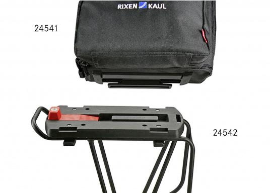 Die Gepäckträger-Adapterplatte GTA bildet eine ebene Ladefläche und dient gleichzeitig als Adapter für Körbe, Taschen und Boxen. Alle Teile sind über eine Zentralverriegelung abschließbar. In die seitlichen Schlitze können Taschen eingehängt werden. (Bild 2 von 7)