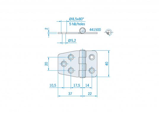 Hier finden Sie ein Scharnier aus rostfreiem Edelstahl. Abmessungen: 59 x 40 mm. (Bild 2 von 2)