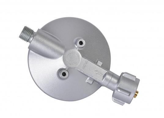 Gasdruckregler speziell für Caravans, zum Anschluss an Flüssiggasflaschen mit bis zu 14 kg Füllgewicht geeignet. Erhältlich ohne Manometer.  (Bild 3 von 3)