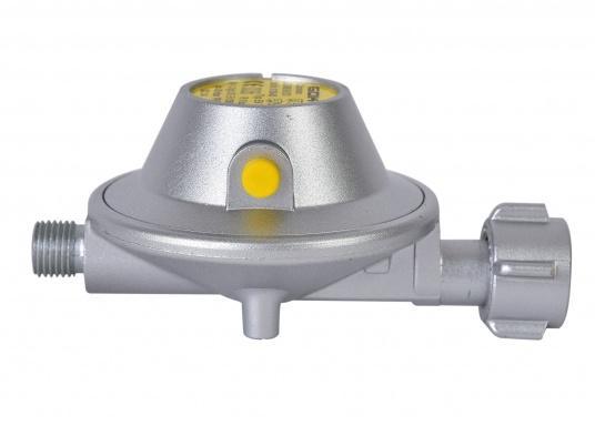 Gasdruckregler speziell für Caravans, zum Anschluss an Flüssiggasflaschen mit bis zu 14 kg Füllgewicht geeignet. Erhältlich ohne Manometer.  (Bild 2 von 3)