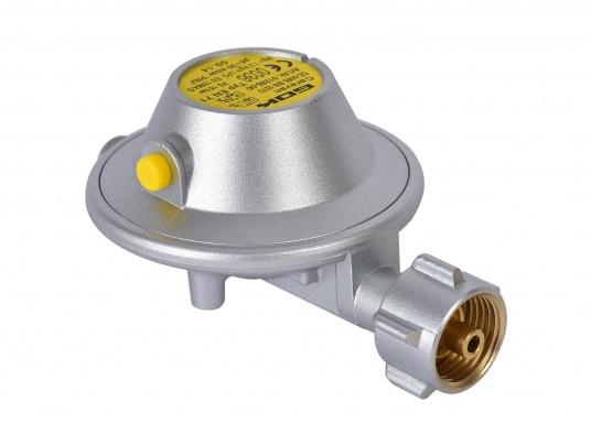 Gasdruckregler speziell für Caravans, zum Anschluss an Flüssiggasflaschen mit bis zu 14 kg Füllgewicht geeignet. Erhältlich ohne Manometer.