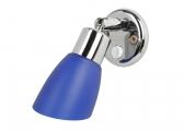 FRILIGHT Interior Light, chrome-plated brass / blue glass shade
