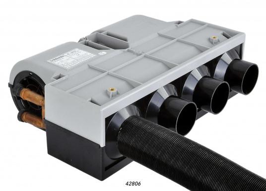 Warmasser-Luft-Wärmetauscher mit 3 Gebläsestufen und einer hohen Luftmengenleistung, geeignet für den Einbau in den Motorkühlkreislauf, sowie in den Kreislauf einer Warmwasserheizung.Erhältlich in verschiedenen Ausführungen.