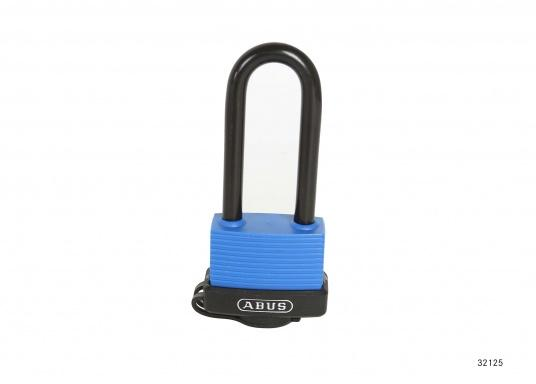 AQUASAFE is a padlock which is particularly suitable for securing boats and vehicles in extreme weather and environemental conditions. Drainage channels facilitate the removal of water.  (Image 2 of 4)