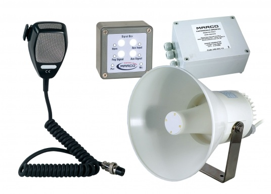 Approved sound signal systems with various signal options, also individual sound sequences can be entered manually. Available for boats from 20 to 70 meters. Includes microphone. Voltage: 24V.