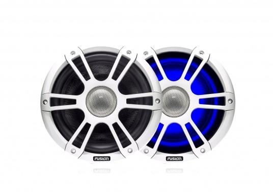 """FUSION's SG-CL77SPW 7.7"""" loudspeakers, specially designed and developed for use on board the ship, deliver functional acoustic elegance and an unparalleled listening experience on the water. With two-colour LED backlight. Supplied in pairs. Peak power: 280 watts. Colour: white."""