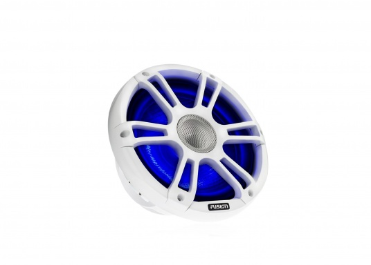 """FUSION's SG-CL77SPW 7.7"""" loudspeakers, specially designed and developed for use on board the ship, deliver functional acoustic elegance and an unparalleled listening experience on the water. With two-colour LED backlight. Supplied in pairs. Peak power: 280 watts. Colour: white. (Image 7 of 9)"""