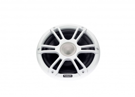 """FUSION's SG-CL77SPW 7.7"""" loudspeakers, specially designed and developed for use on board the ship, deliver functional acoustic elegance and an unparalleled listening experience on the water. With two-colour LED backlight. Supplied in pairs. Peak power: 280 watts. Colour: white. (Image 5 of 9)"""