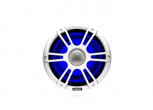 """FUSION's SG-CL77SPW 7.7"""" loudspeakers, specially designed and developed for use on board the ship, deliver functional acoustic elegance and an unparalleled listening experience on the water. With two-colour LED backlight. Supplied in pairs. Peak power: 280 watts. Colour: white. (Image 4 of 9)"""