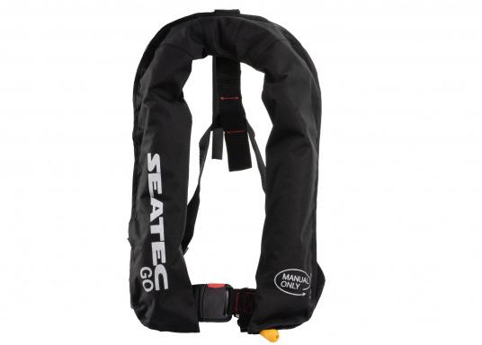Die neue Rettungsweste GO von Seatec ist mit einem manuellen Auslöser ausgestattet und somit optimal für Wassersportarten, wie z.B. Kanu- oder Kajakfahren geeignet. Farbe: schwarz. (Bild 7 von 11)