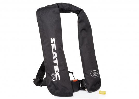 Die neue Rettungsweste GO von Seatec ist mit einem manuellen Auslöser ausgestattet und somit optimal für Wassersportarten, wie z.B. Kanu- oder Kajakfahren geeignet. Farbe: schwarz.