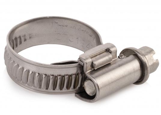 Schlauchschellen aus rostfreiem Edelstahl W 1.4301. Bandbreite: 12 mm. Stellscharaube mit Schlitz- und Sechskantkopf. Die Schellen können miteinander verbunden werden um einen größeren Spannbereich zu erreichen.