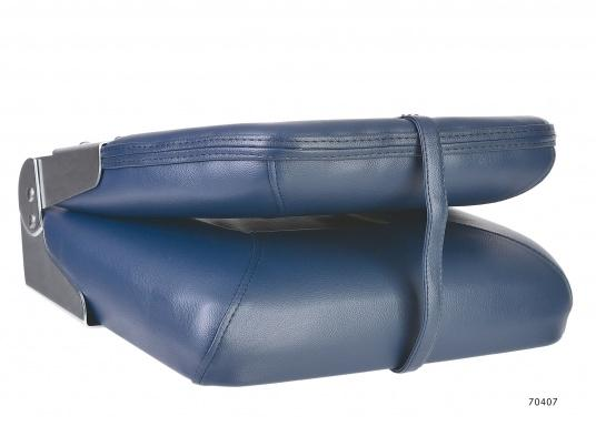 Comfortable deluxe seats with folding back rest. Width: 40 cm, depth: 48 cm, height: 45 cm. Seat: 40 x 35 cm. Deliveredwithout seat base. Color: dark blue.  (Image 3 of 4)