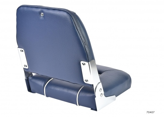 Comfortable deluxe seats with folding back rest. Width: 40 cm, depth: 48 cm, height: 45 cm. Seat: 40 x 35 cm. Deliveredwithout seat base. Color: dark blue.  (Image 2 of 4)