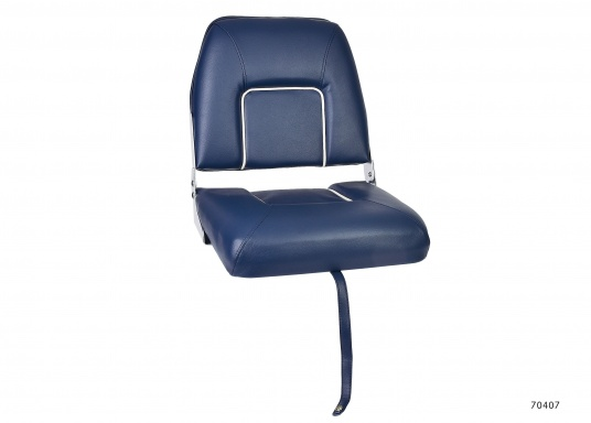 Comfortable deluxe seats with folding back rest. Width: 40 cm, depth: 48 cm, height: 45 cm. Seat: 40 x 35 cm. Delivered without seat base. Color: dark blue.
