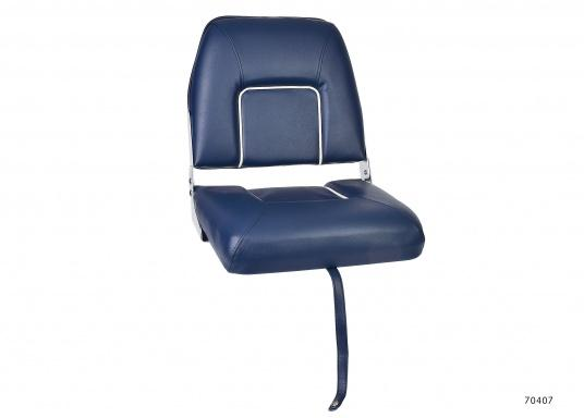 Comfortable deluxe seats with folding back rest. Width: 40 cm, depth: 48 cm, height: 45 cm. Seat: 40 x 35 cm. Deliveredwithout seat base. Color: dark blue.