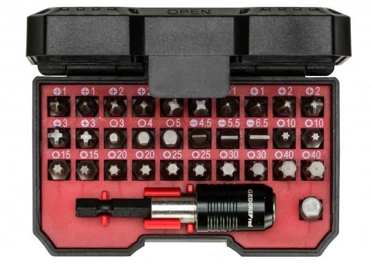 Die 32-teilige Bit-Box verfügt über alle gängigen Bitgrößen, sowie einen Antriebsadapter mit magnetischer Bit-Arretierung. Gewicht: 0,25 kg. (Bild 2 von 4)