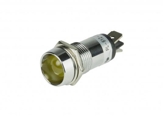 Verchromte LED-Kontrollleuchte, verlustarm und vibrationsunempfindlich. Die Stromversorgung beträgt 12 V.Leuchtfarbe: gelb.