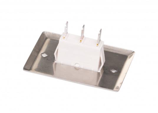 Idealer Schalter für Beleuchtung und kleinere Verbraucher.DerSchalter besitzen jeweils drei Anschlüsse (Wechselschalter). Frontplatte aus Edelstahl, rostfrei. (Bild 3 von 3)