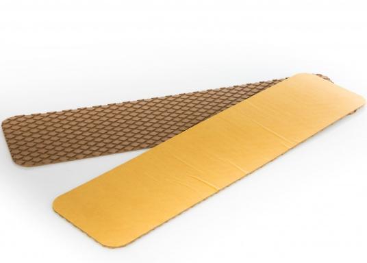 Antirutsch-Pads mit Rombenstruktur und praktischer, selbstklebender Beschichtung auf der Rückseite.Lieferbar in der Farbe:braun, jeweils in verschiedenen Größen. Packungsinhalt: 2 Pads.  (Bild 3 von 7)