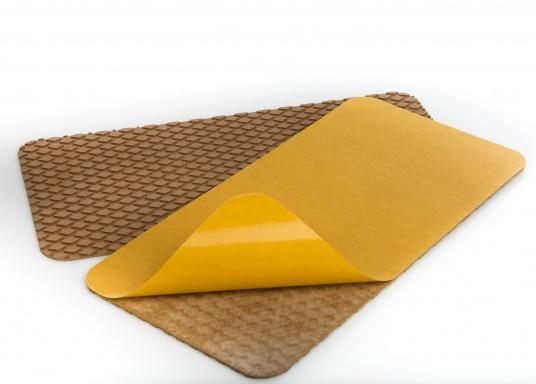 Antirutsch-Pads mit Rombenstruktur und praktischer, selbstklebender Beschichtung auf der Rückseite.Lieferbar in der Farbe:braun, jeweils in verschiedenen Größen. Packungsinhalt: 2 Pads.  (Bild 7 von 7)