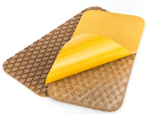 Antirutsch-Pads mit Rombenstruktur und praktischer, selbstklebender Beschichtung auf der Rückseite.Lieferbar in der Farbe:braun, jeweils in verschiedenen Größen. Packungsinhalt: 2 Pads.  (Bild 2 von 7)