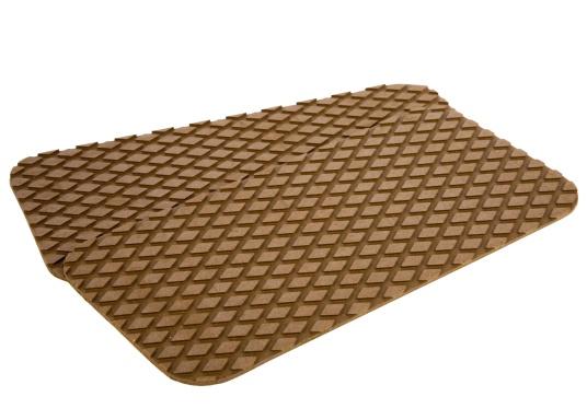 Antirutsch-Pads mit Rombenstruktur und praktischer, selbstklebender Beschichtung auf der Rückseite.Lieferbar in der Farbe:braun, jeweils in verschiedenen Größen. Packungsinhalt: 2 Pads.
