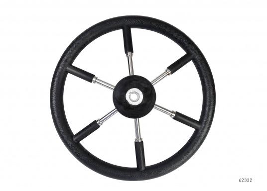 Steuerräder für den modernen Motorkreuzer. Die Steuerräder, sowie ein Teil der Speichen sind mit einer stabilen, griffigen Kunststoff-Ummantelung versehen. Lieferbar in verschiedenen Durchmessern. Farbe: schwarz.