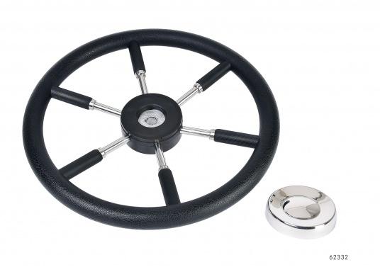 Steuerräder für den modernen Motorkreuzer. Die Steuerräder, sowie ein Teil der Speichen sind mit einer stabilen, griffigen Kunststoff-Ummantelung versehen. Lieferbar in verschiedenen Durchmessern. Farbe: schwarz.  (Bild 3 von 3)