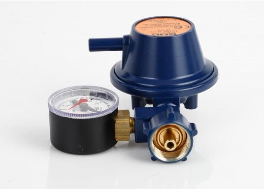 Speziell für den Marinebereich aus korrosionsbeständigem Material, seewasserfest, TÜV geprüft. Mit Manometer. Zum Anschluss an Gasflaschen, zur Druckregelung auf den Nenndruck des Gasgerätes. Mit Sicherheitsabblaseventil PRV.  (Bild 2 von 4)