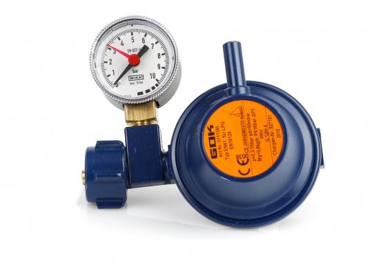 Speziell für den Marinebereich aus korrosionsbeständigem Material, seewasserfest, TÜV geprüft. Mit Manometer. Zum Anschluss an Gasflaschen, zur Druckregelung auf den Nenndruck des Gasgerätes. Mit Sicherheitsabblaseventil PRV.
