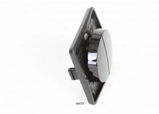 Berker Integro Doppel-Wipptaster mit Schraubklemmen. Geringe Abmessungen für Flexibilität an Bord. Abmessungen: 55,5 x 55,5 mm. Einbautiefe: 10 mm. Aufbau: 14,5 mm.  (Bild 2 von 4)