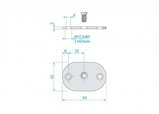 Passende Gegenplatte für Ihren eleganten Edelstahlhandlauf. Der Lieferumfang besteht aus einer Platte inklusive einer Schraube M6 x 16 mm. (Bild 3 von 3)