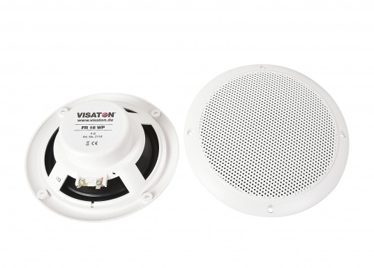 Absolut seewasser- und korrosionsbeständige Lautsprecher für den Einbau im Cockpit. Hergestellt aus robustem Kunststoff, alle Kontakte versiegelt. Lieferbar in 2 Größen: 40 Watt und 60 Watt, jeweils paarweise in weiß.  (Bild 2 von 4)