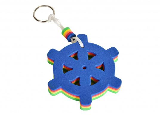 Derschwimmfähige, bunteSchaumstoff-Schlüsselanhängerträgtbis zu ca. 40g. Form: Steuerrad.