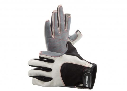 Der Handschuh DECKHAND wurde aus hochwertigem Ziegenleder hergestellt und ist mit Stretch-Einsatz am Handrücken, verstellbarem Klettverschluss am Handgelenk und verstärkten Handflächen ausgestattet. Version: Daumen und Zeigefinger offen. (Bild 5 von 5)