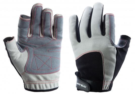 Der Handschuh DECKHAND wurde aus hochwertigem Ziegenleder hergestellt und ist mit Stretch-Einsatz am Handrücken, verstellbarem Klettverschluss am Handgelenk und verstärkten Handflächen ausgestattet. Version: Daumen und Zeigefinger offen. (Bild 4 von 5)