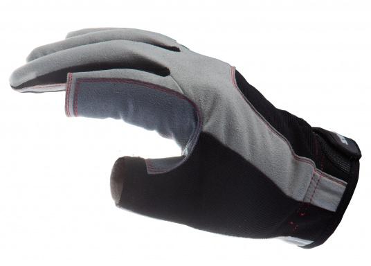 Der Handschuh DECKHAND wurde aus hochwertigem Ziegenleder hergestellt und ist mit Stretch-Einsatz am Handrücken, verstellbarem Klettverschluss am Handgelenk und verstärkten Handflächen ausgestattet. Version: Daumen und Zeigefinger offen. (Bild 3 von 5)