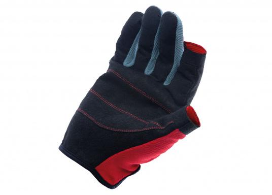 Der Handschuh TEAM sorgt dank der Amara® Handflächen jederzeit für einen sicheren Griff. Durch das flexible Mesh am Handrücken bietet der Handschuh eine exzellente Passform und ist zudem besonders atmungsaktiv. Version: Daumen und Zeigefinger offen. (Bild 3 von 3)