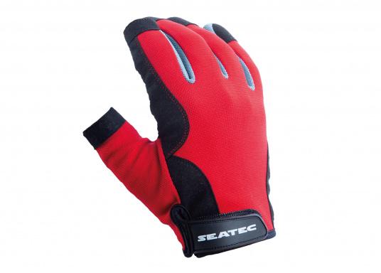 Der Handschuh TEAM sorgt dank der Amara® Handflächen jederzeit für einen sicheren Griff. Durch das flexible Mesh am Handrücken bietet der Handschuh eine exzellente Passform und ist zudem besonders atmungsaktiv. Version: Daumen und Zeigefinger offen. (Bild 2 von 3)