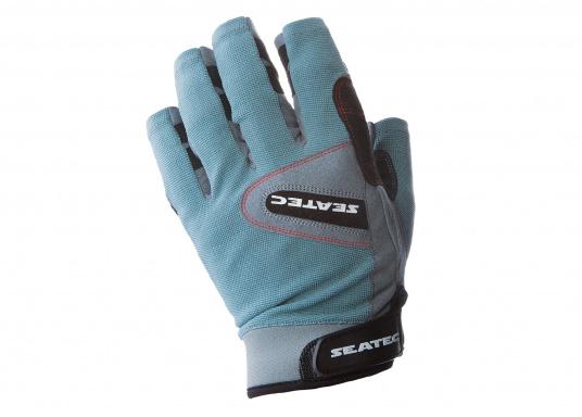 Speziell für extreme Situation gefertigter Handschuh. Geringe Abnutzung dank doppelter, herumgeführter Verstärkungen an Fingern und Handfläche. Version: ohne Finger.