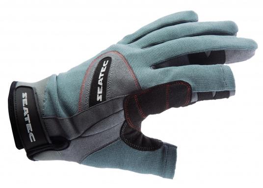 Speziell für extreme Situation gefertigter Handschuh. Geringe Abnutzung dank doppelter, herumgeführter Verstärkungen an Fingern und Handfläche. Version: Daumen und Zeigefinger offen.