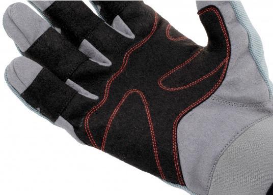 Speziell für extreme Situation gefertigter Handschuh. Geringe Abnutzung dank doppelter, herumgeführter Verstärkungen an Fingern und Handfläche. Version: Daumen und Zeigefinger offen. (Bild 4 von 4)
