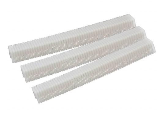 Passende Kunststoffklammern für den Handtacker.Geeignet für alleBefestigungs- und Bespannungsarbeiten, bei denen sicherer Halt erforderlich ist– ohne die bekannten Nachteile von Metallklammern. Erhältlich in unterschiedlichen Ausführungen.