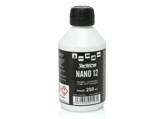NANO 12 nettoient et reconditionnent les surfaces de gelcoat, vernis, acier, aluminium, verre, PVC et autres matériaux synthétiques. Ils assurent une protection longue durée et facilite le nettoyage des surfaces rendues hydrophobes.