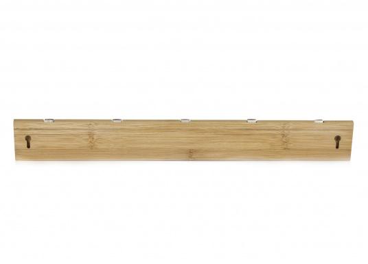 Stilvolles Design aus Bambus mit fünf einklappbaren Metall-Kleiderhaken. Rückseitige Befestigung.  (Bild 3 von 4)